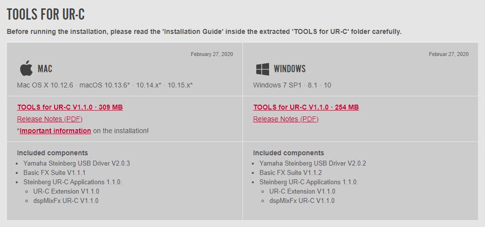 เลือก Driver UR22C ตาม OS ที่ใช้งาน