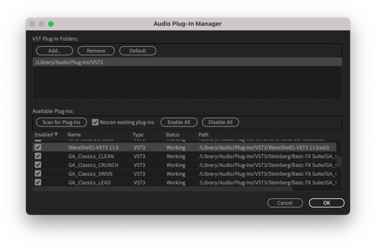 Premiere Pro Audio Plug-in Manager