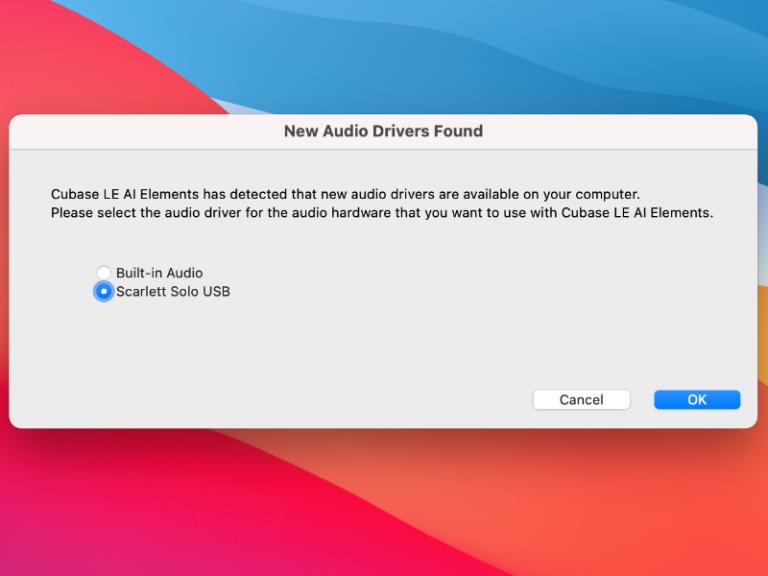 Cubase - New audio driver found