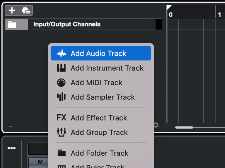 Cubase - Add audio track