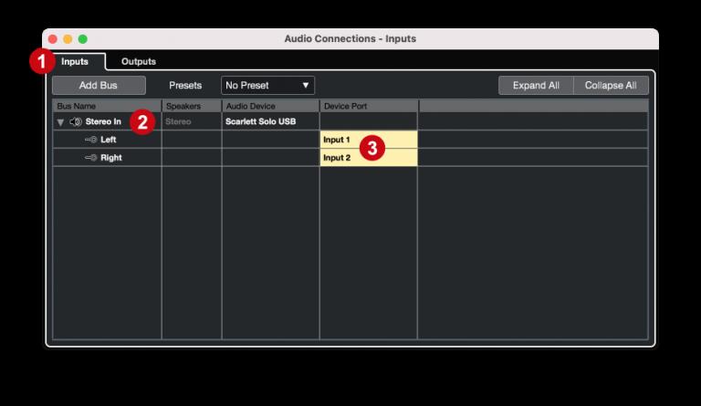 Cubase - Audio connections inputs