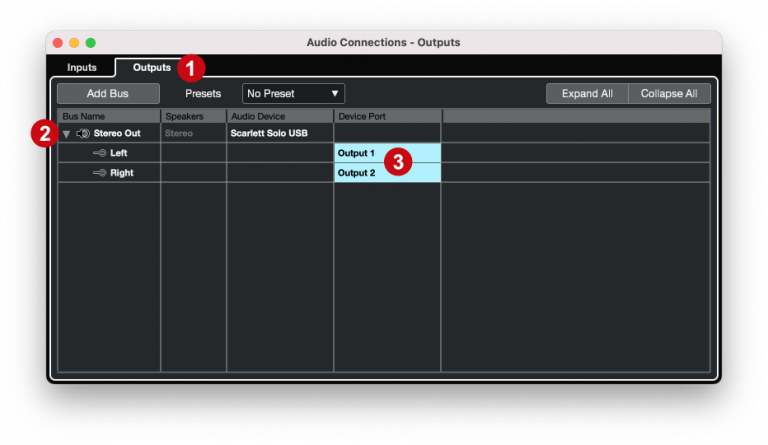 Cubase - Audio connections outputs