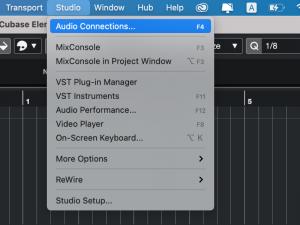 Cubase - menu studio audio connections
