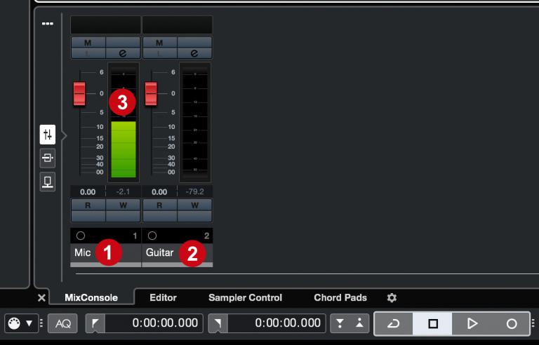 Cubase - MixConsole input vu meters