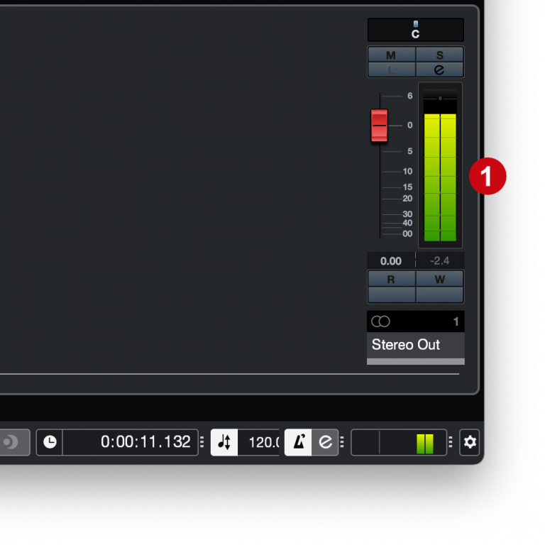 Cubase MixConsole output vu meters