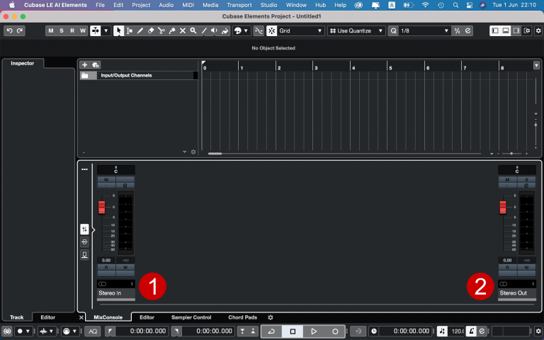 Cubase - MixConsole in/out